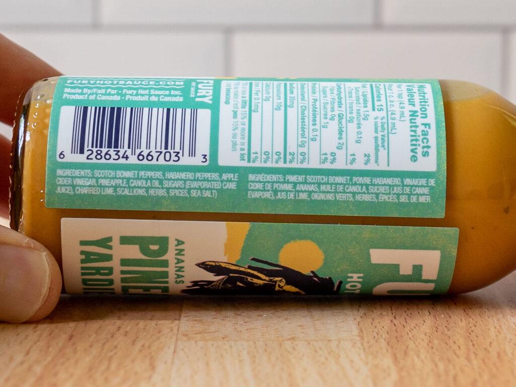 Fury Hot Sauce - Pineapple Yardie ingredients