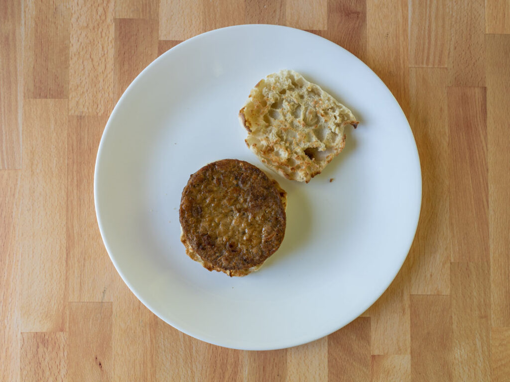 Simple Truth Meatless Breakfast Patties air fried on English muffin