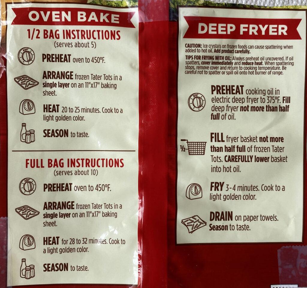 Ore-Ida Golden Tater Tots cooking