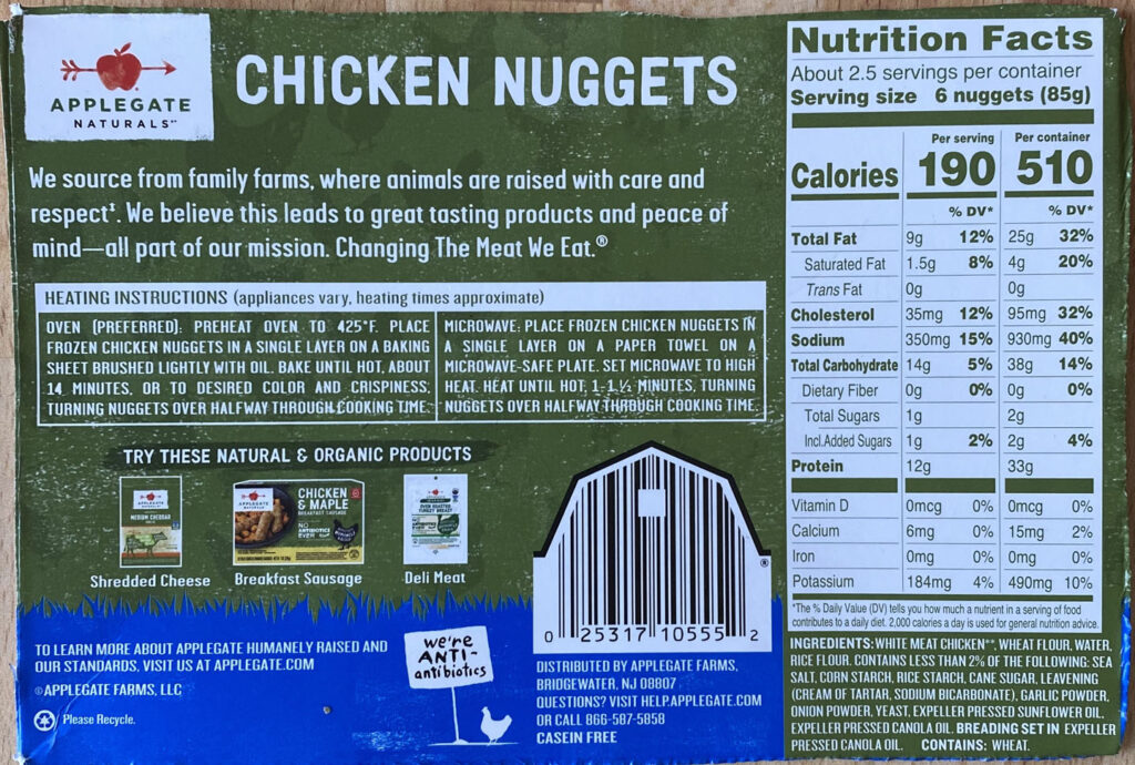 Applegate Naturals Chicken Nuggets nutrition and cooking