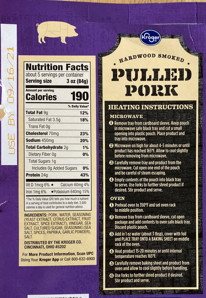 Hardwood Smoked Pulled Pork nutrition and cooking
