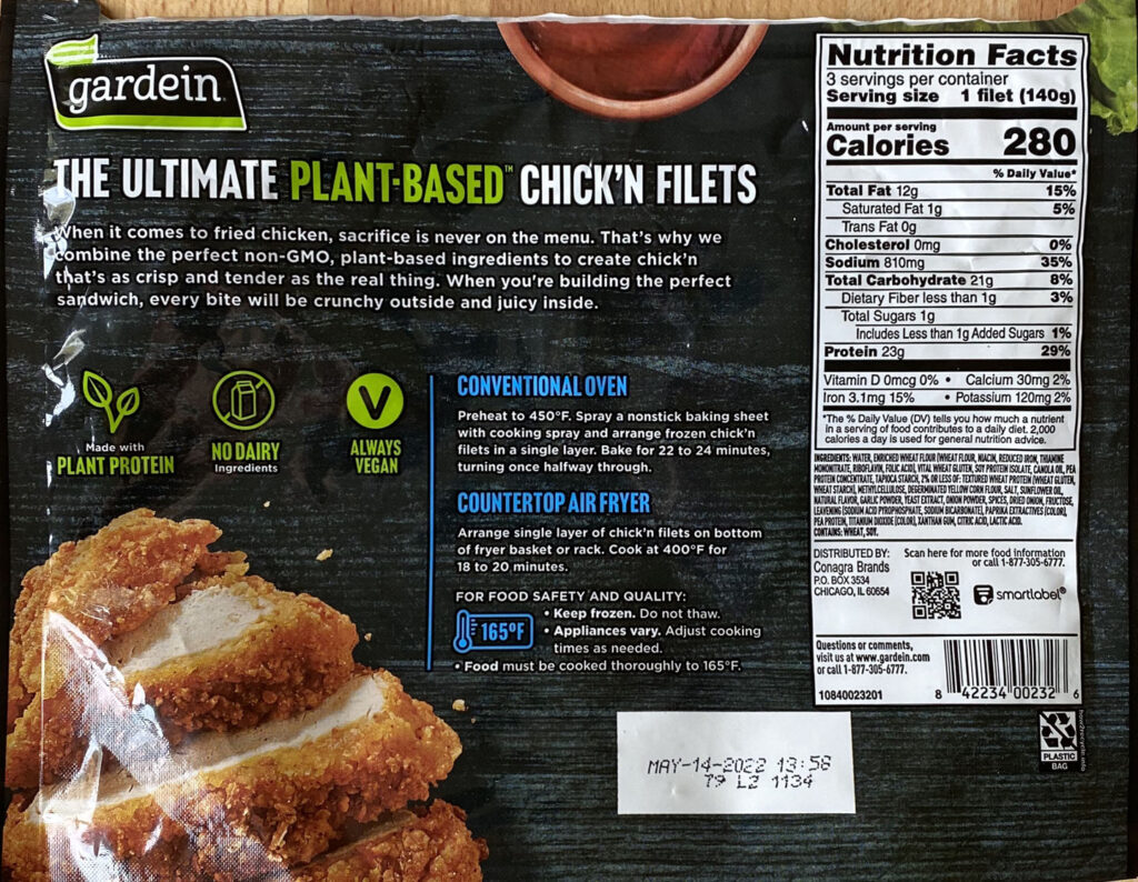 Gardein Ultimate Plant-Based Chick'N Filet nutrition and cooking