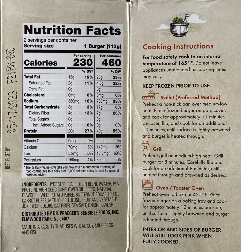 Dr Praeger's Perfect Burger cooking nutrition