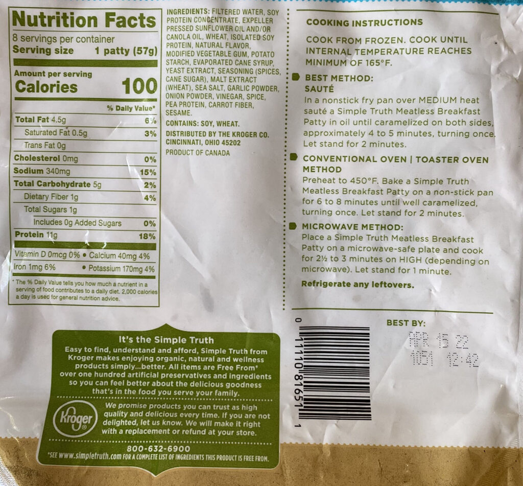 Simple Truth Meatless Breakfast Patties nutrition and cooking