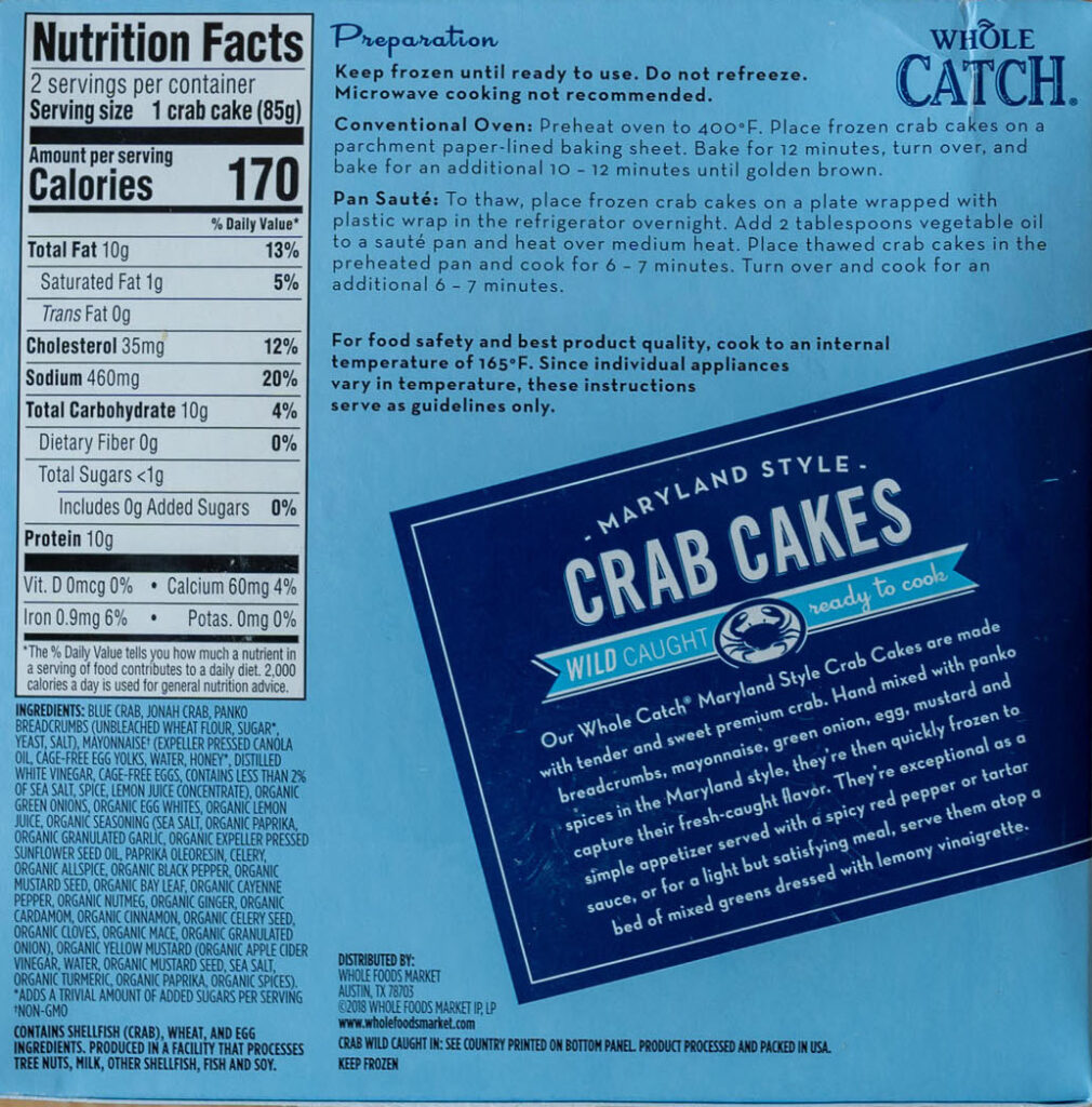 Whole Catch Maryland Style Crab Cakes nutrition and cooking