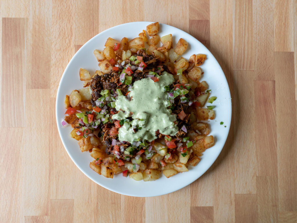 Wild Coyote Cilantro Lime Ranch over loaded breakfast potatoes