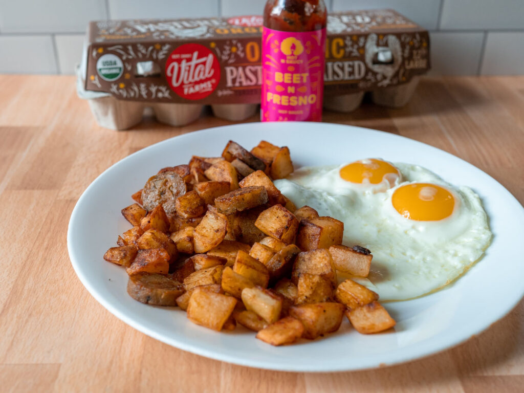 Eggs Field Roast with beet N Fresno Hot N Saucy