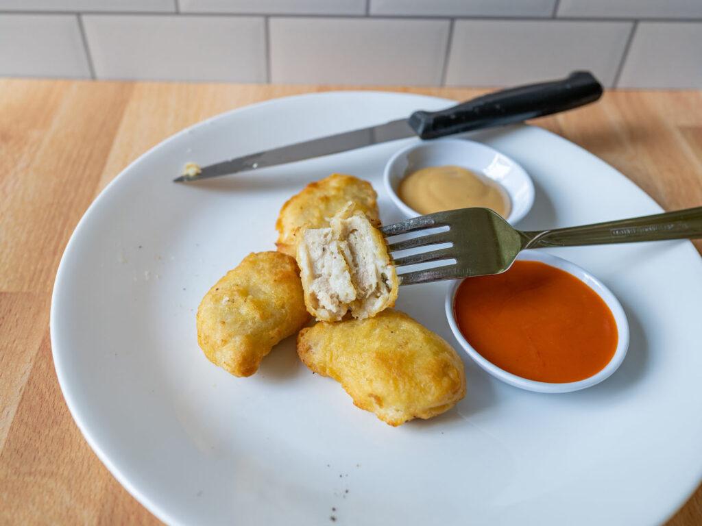 Pilgrim's Tempura Chicken Breast Nuggets air fried interior