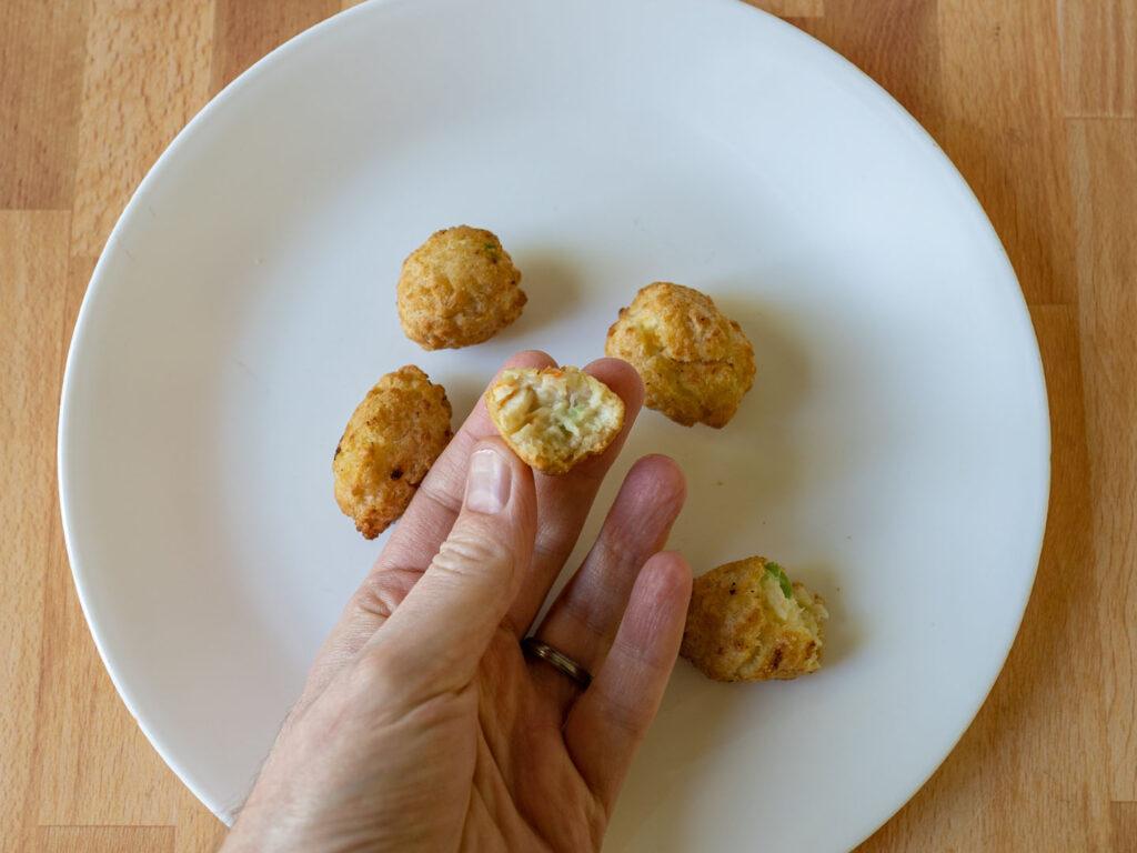 Stouffer's Chicken Pot Pie Bites air fried interior