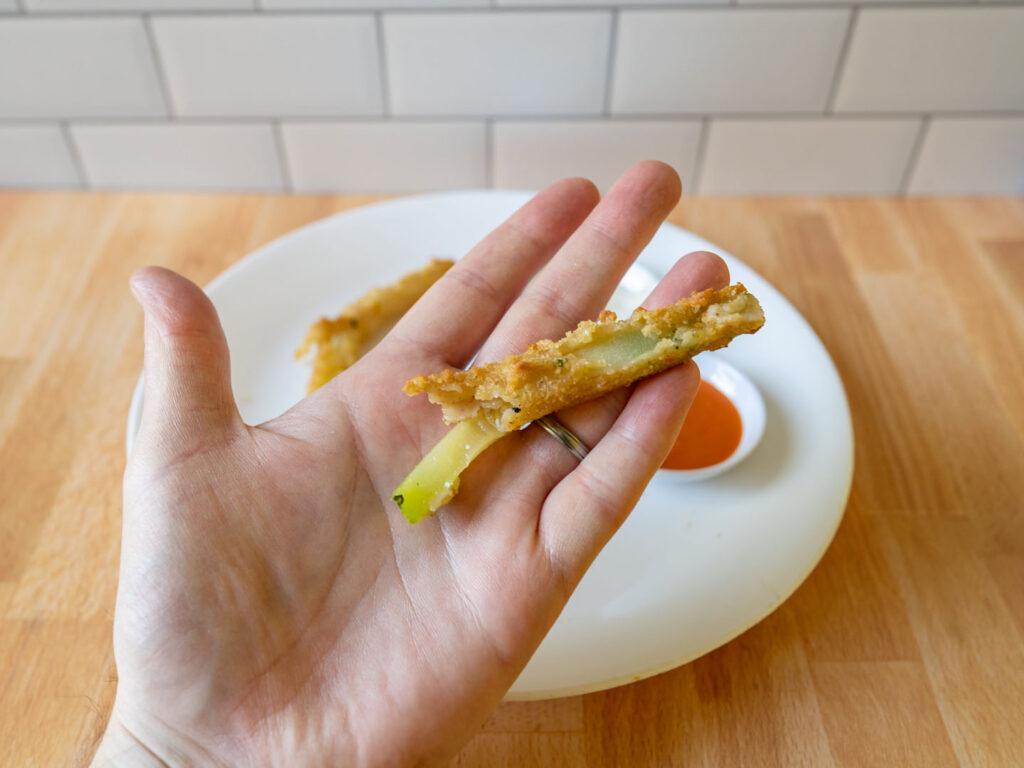 Garden Inspirations Breaded Zucchini Sticks air fried close up