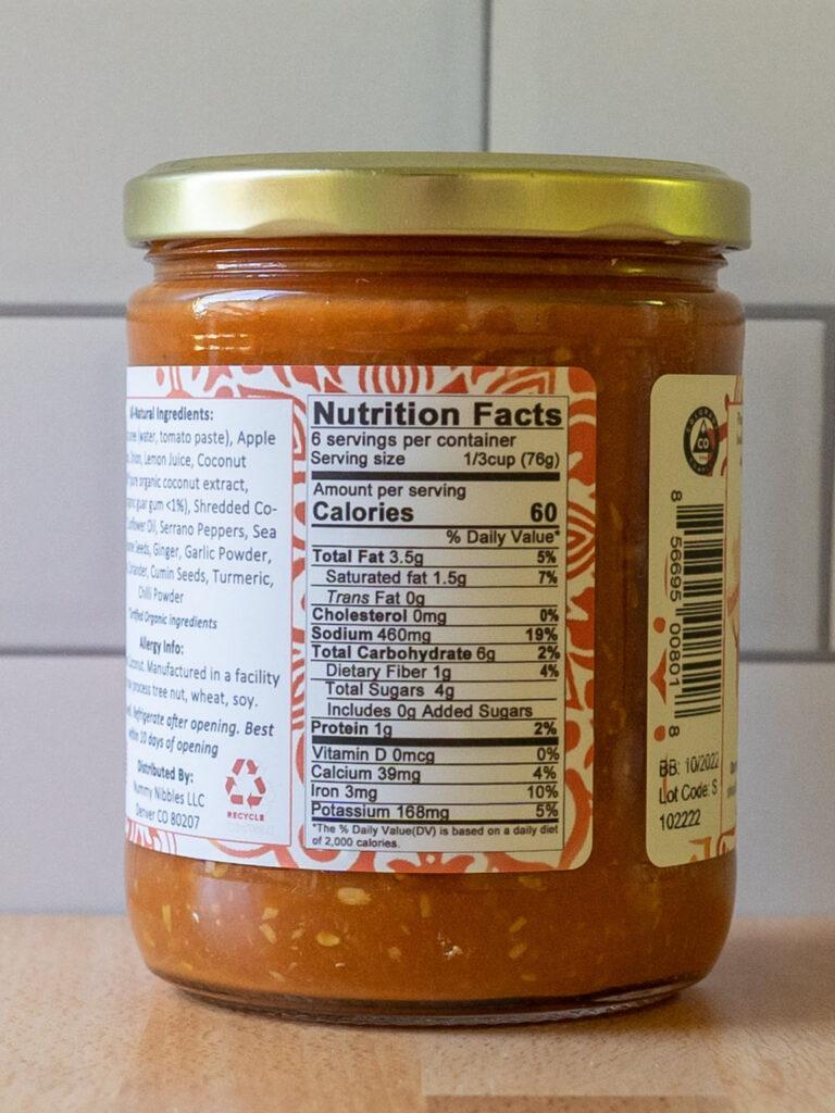 Nummy Nibbles Kohlapuri sauce nutrition