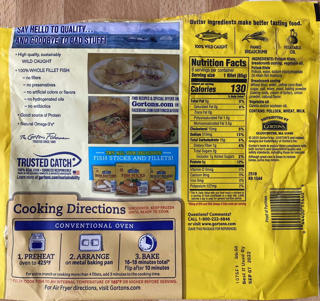 Gorton's Fish Sandwich cooking and nutrition