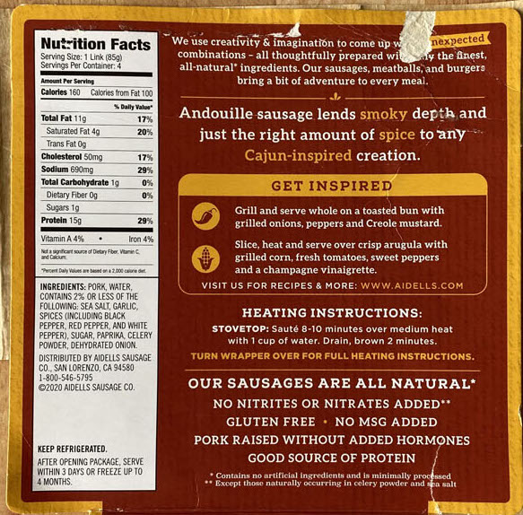 Aidells Cajun style Andouille nutrition and ingredients