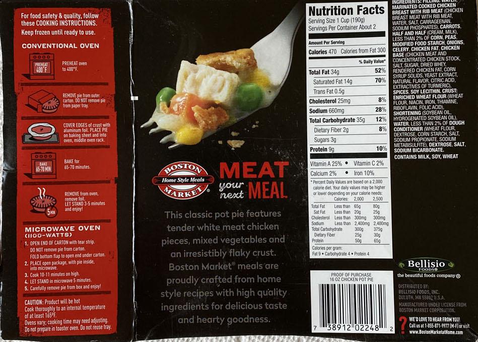 Boston Market Chicken Pot Pie cooking and nutrition