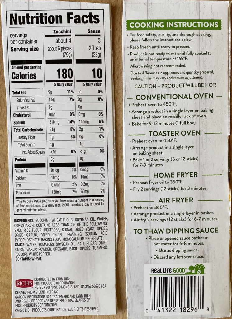 Garden Inspirations Breaded Zucchini Sticks nutrition and cooking