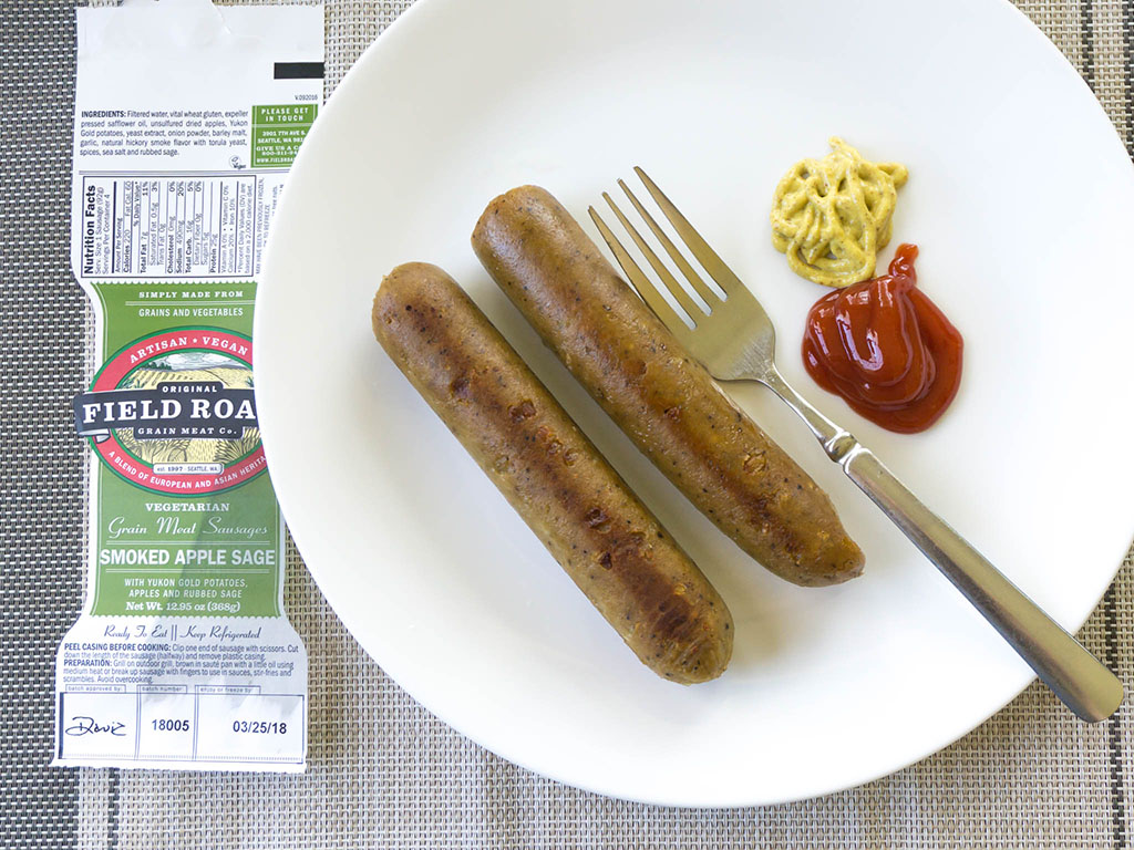 Field Roast Smoked Apple Sage Sausage cooked sausage links