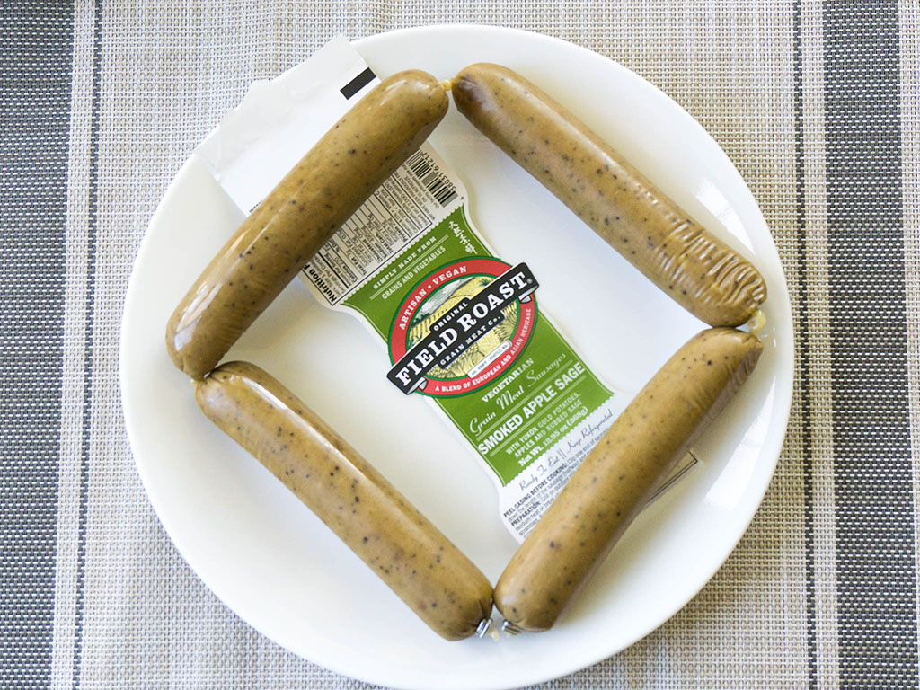 Field Roast Smoked Apple Sage Sausage unpacked