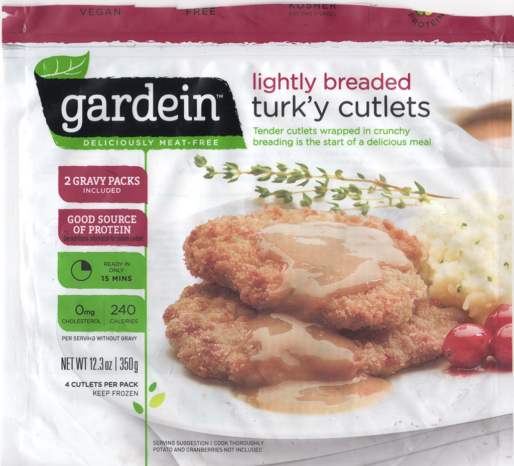 Gardein Lightly Breaded Turk'y Cutlets front