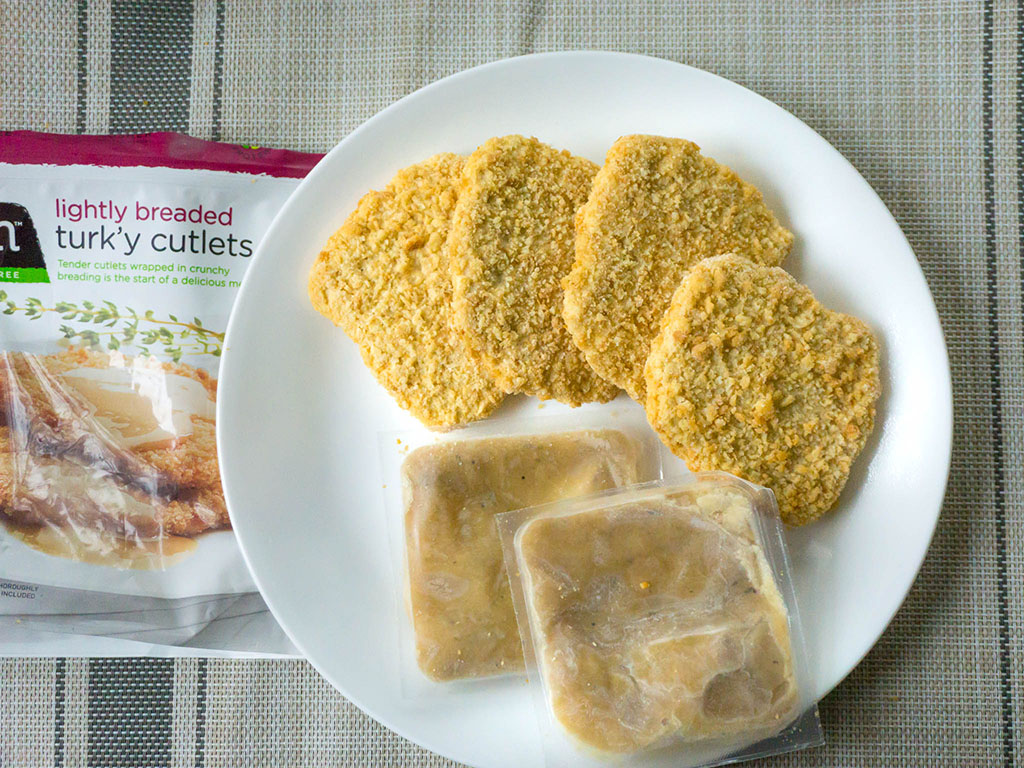 Gardein Lightly Breaded Turk'y Cutlets in the bag
