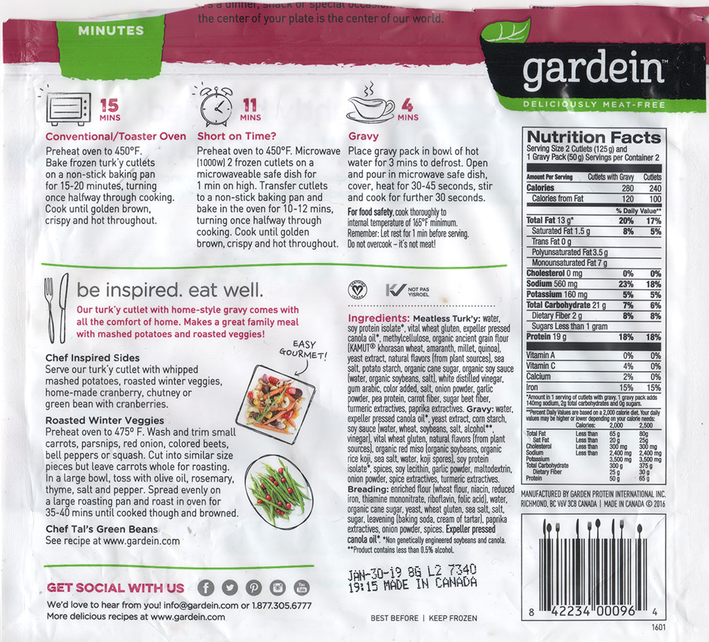 Gardein Lightly Breaded Turk'y Cutlets rear