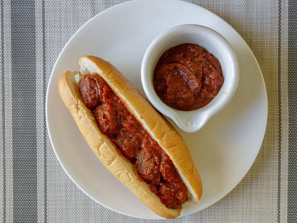Meatball sub with Gardein meatfree meatballs