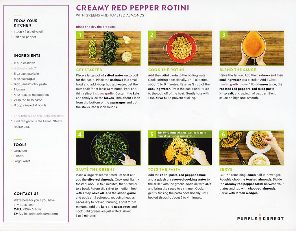 Purple Carrot - creamy red pepper rotini recipe back