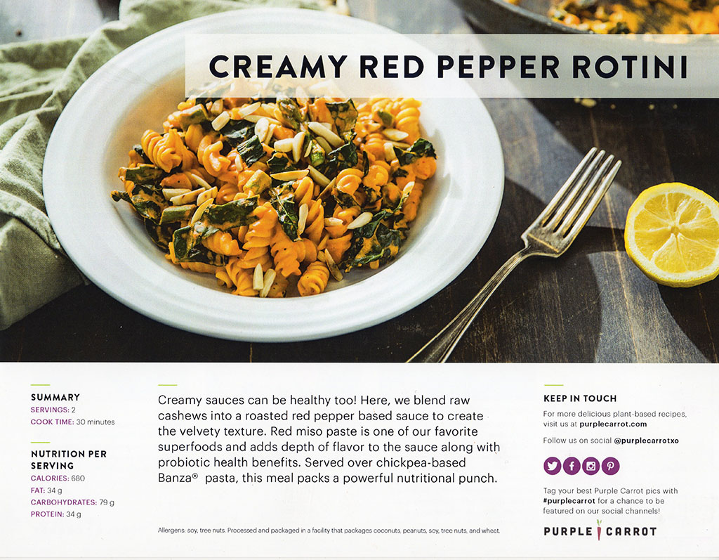 Purple Carrot - creamy red pepper rotini recipe front