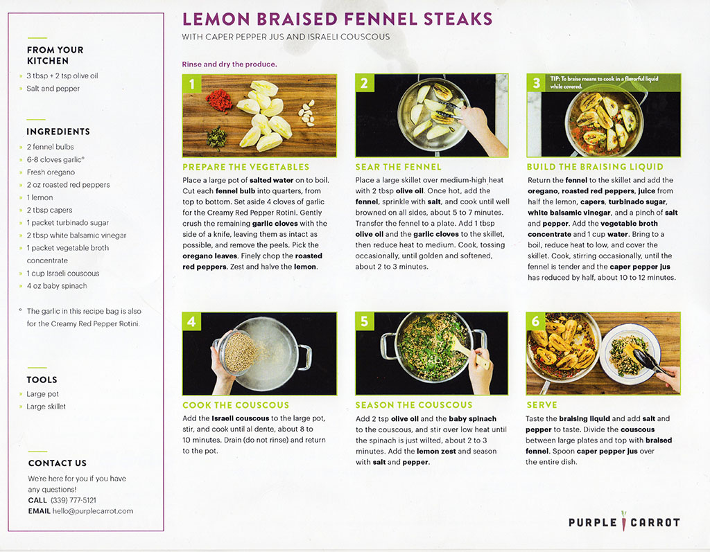 Purple Carrot - lemon braised fennel steaks recipe back