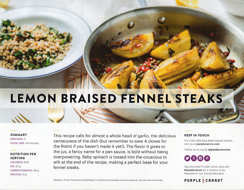 Purple Carrot - lemon braised fennel steaks recipe front