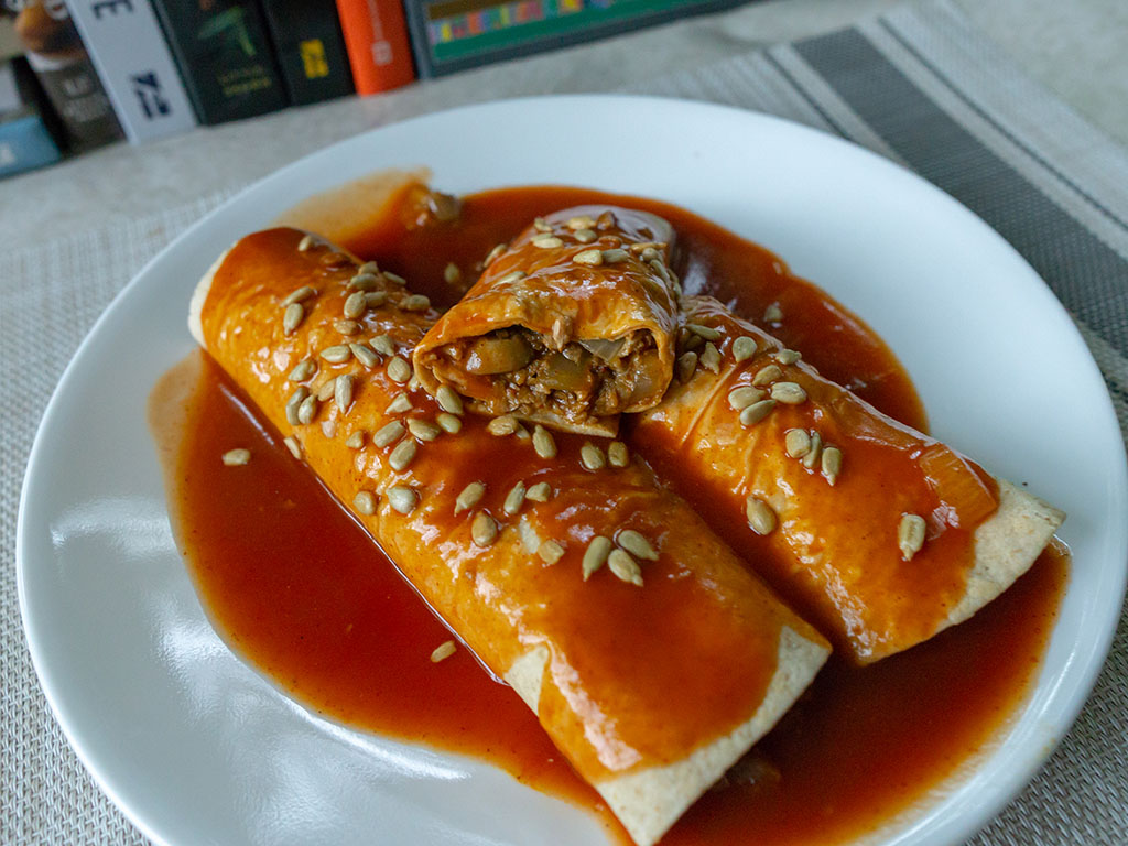 Beef, mushroom and onion enchiladas with MorningStar Farms Crumblers