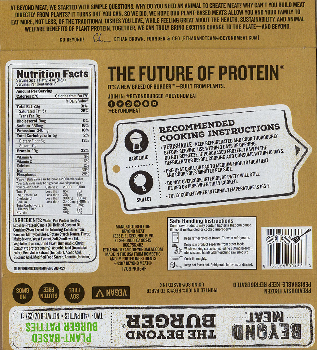 Beyond Meat The Beyond Burger package back