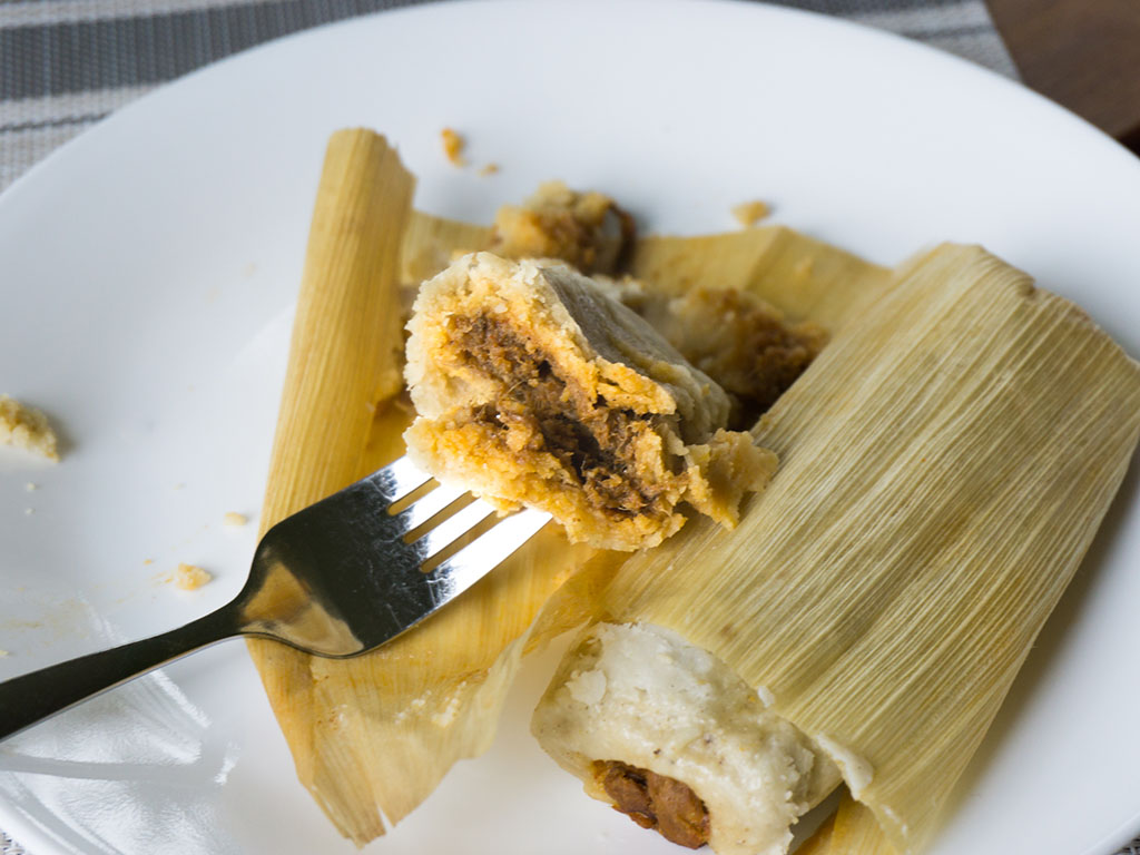 Chapparo's Beef Tamales cooked and close up
