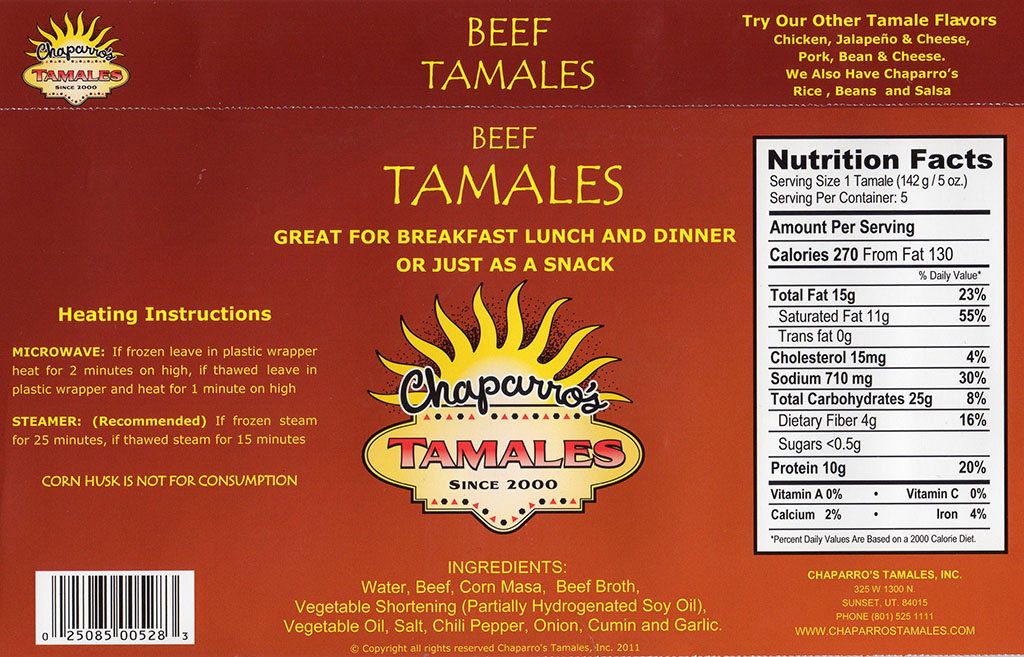 Chapparo's Beef Tamales package back