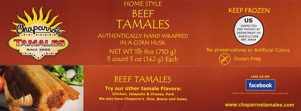 Chapparo's Beef Tamales package front