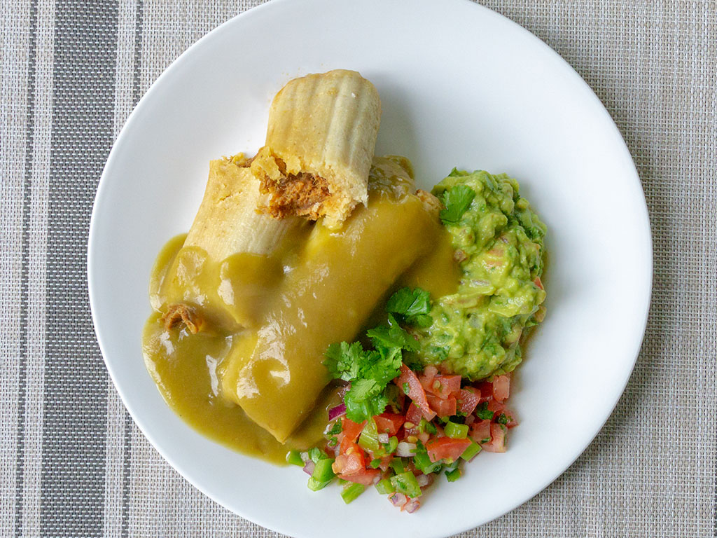 Chapparos Tamales with Hatch green chile sauce