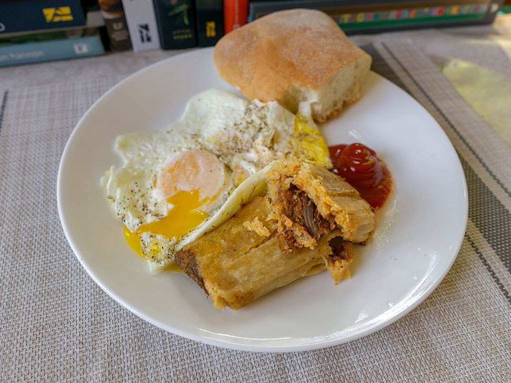 Egg and Chaparros tamale