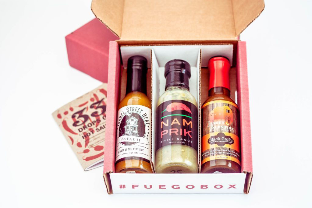 Fuego Box hot sauces with tasting book