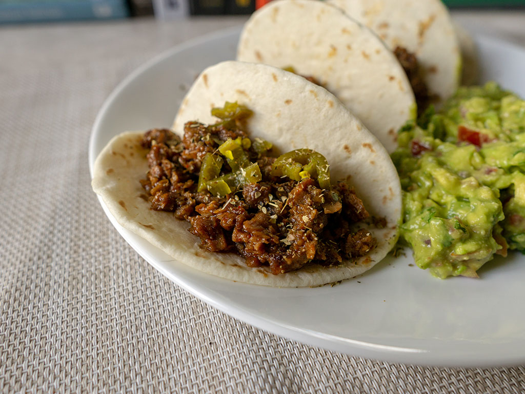 Jalapeno tacos with MorningStar Farms Grillers Crumblers