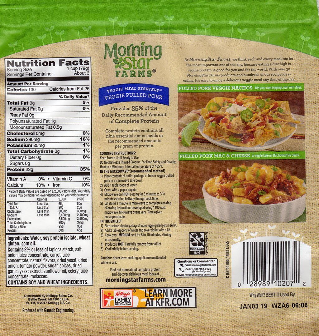 MorningStar Farms Veggie Pulled Pork packaging back