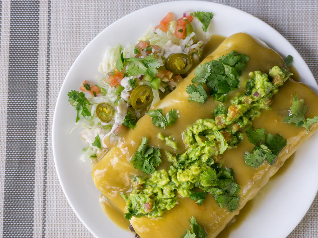 Vegetarian green chile enchiladas with MorningStar Farms Grillers Crumblers