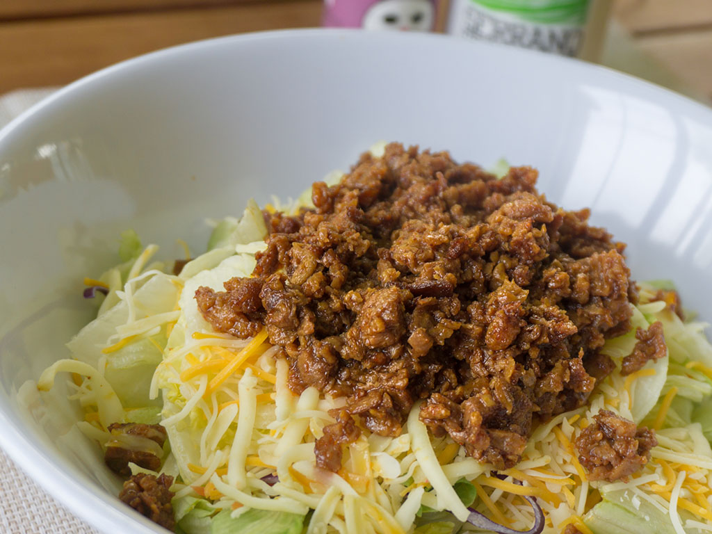 Vegeterian taco salad with MorningStar Farms Grillers Crumblers