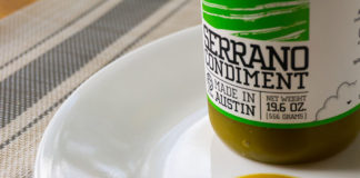 Yellowbird Serrano Condiment Sauce on plate