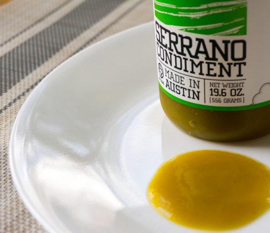 Yellowbird Serrano Condiment Sauce on plate