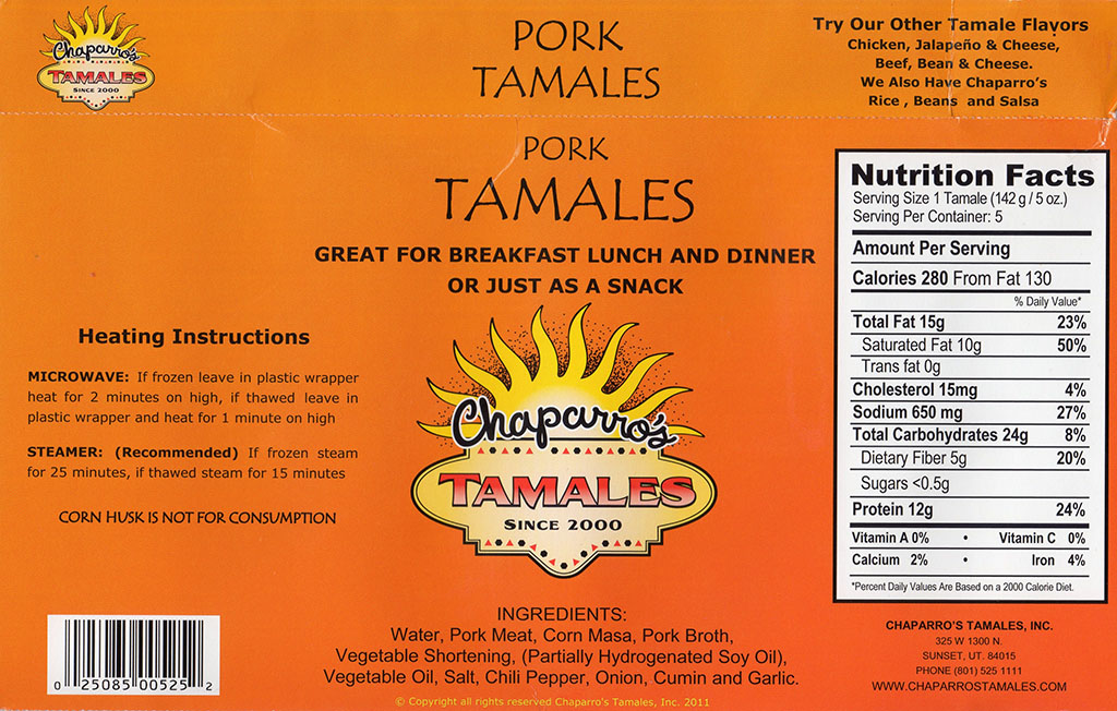 Chapparos Pork Tamales package back