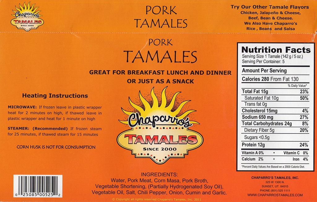 Chapparos Pork Tamales package back