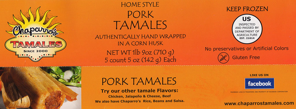 Chapparos Pork Tamales package front