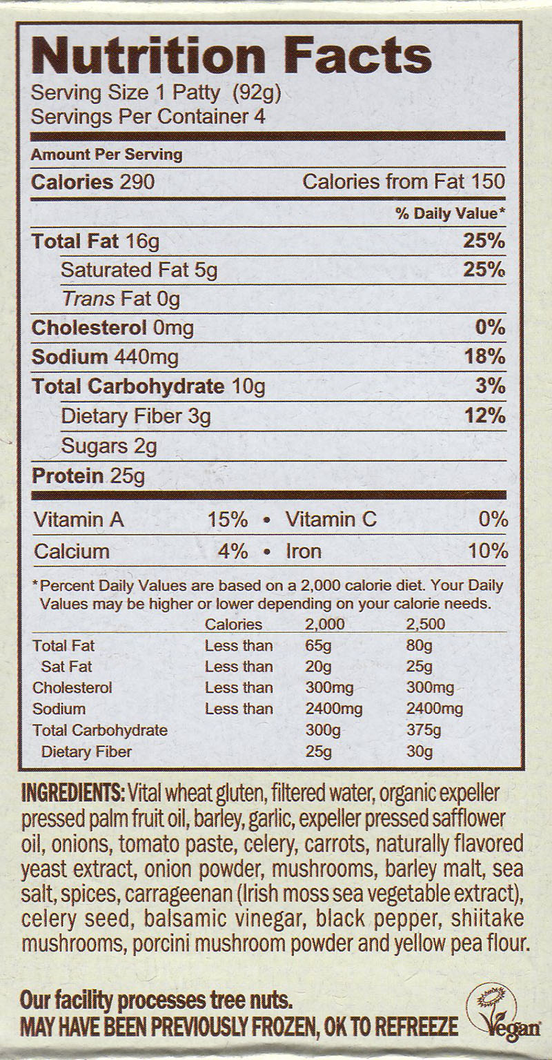 Field Roast FieldBurger nutrition and ingredients