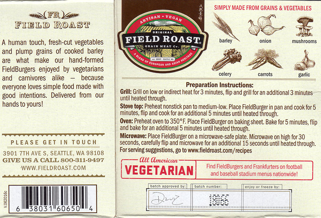 Field Roast FieldBurger package back
