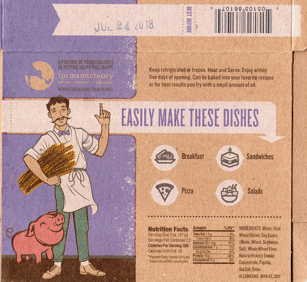Upton's Naturals Bacon Seitan package back