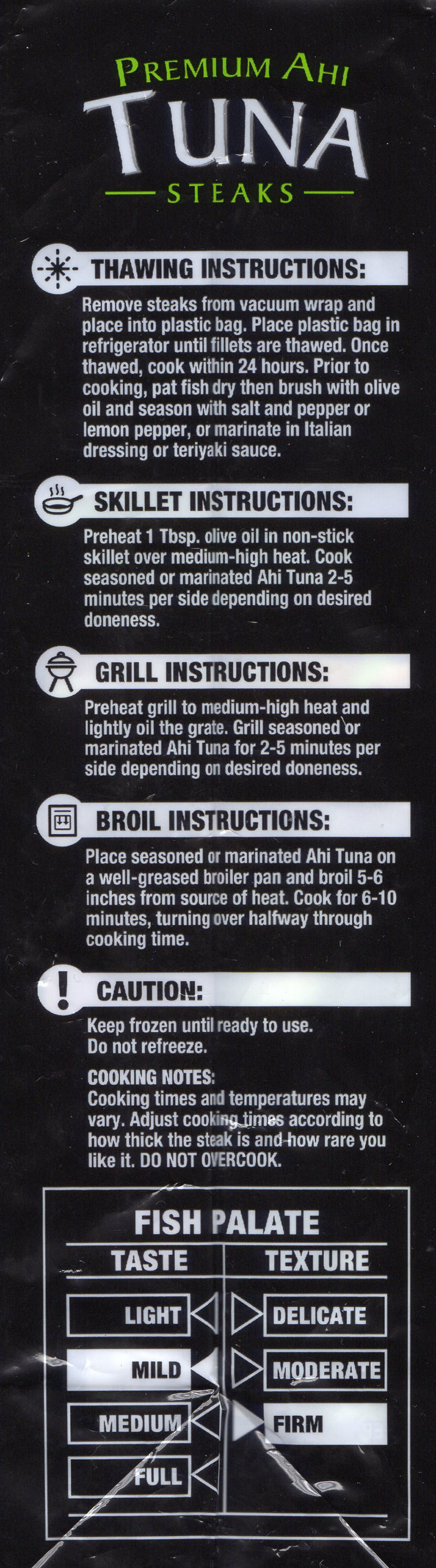 Walmart Premium Ahi Tuna Steaks defrosting and cooking instructions